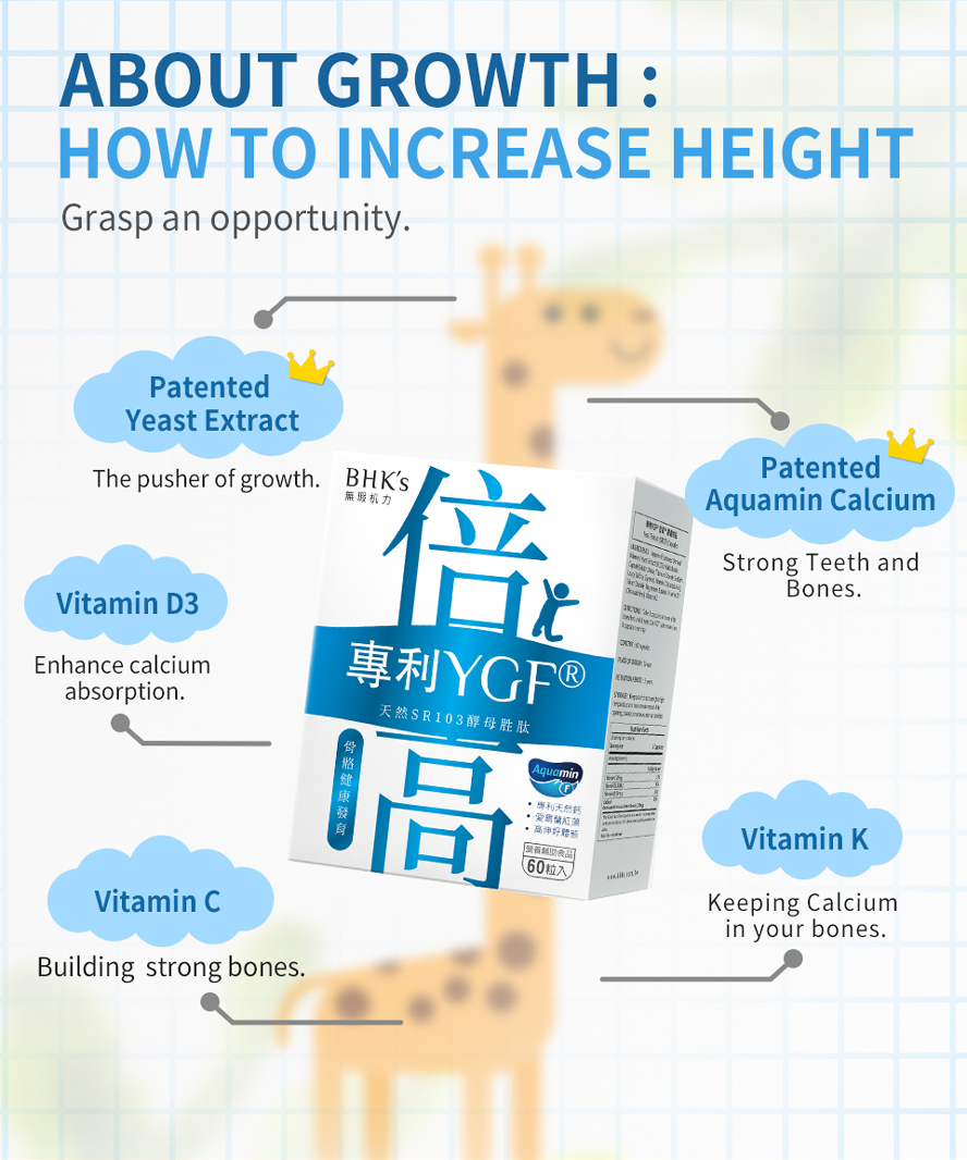 BHK's Patented YGF+Calcium Capsules are the pusher of growth.
