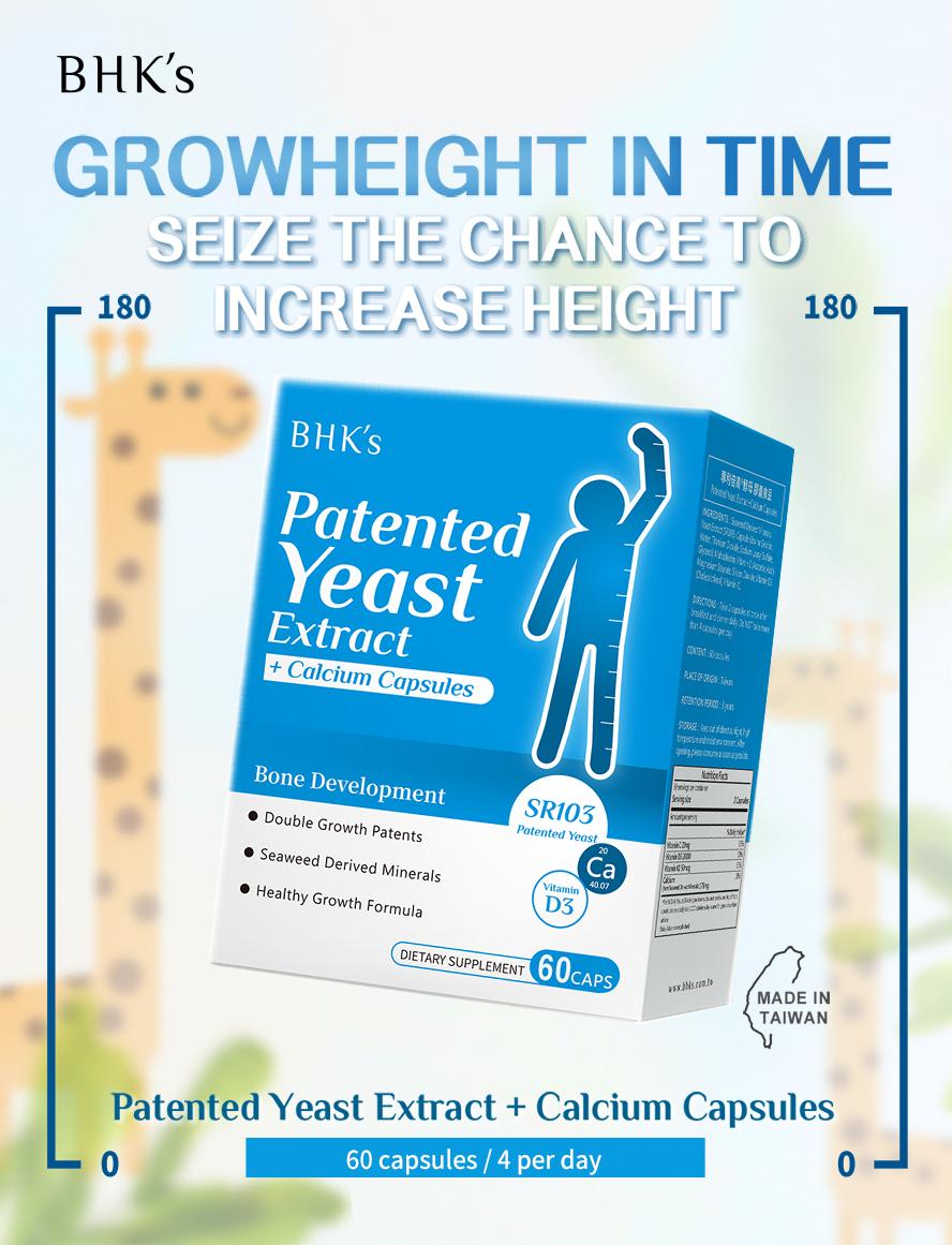 BHK's Patented Yeast Extract+Calcium Capsules strongteethandbones.