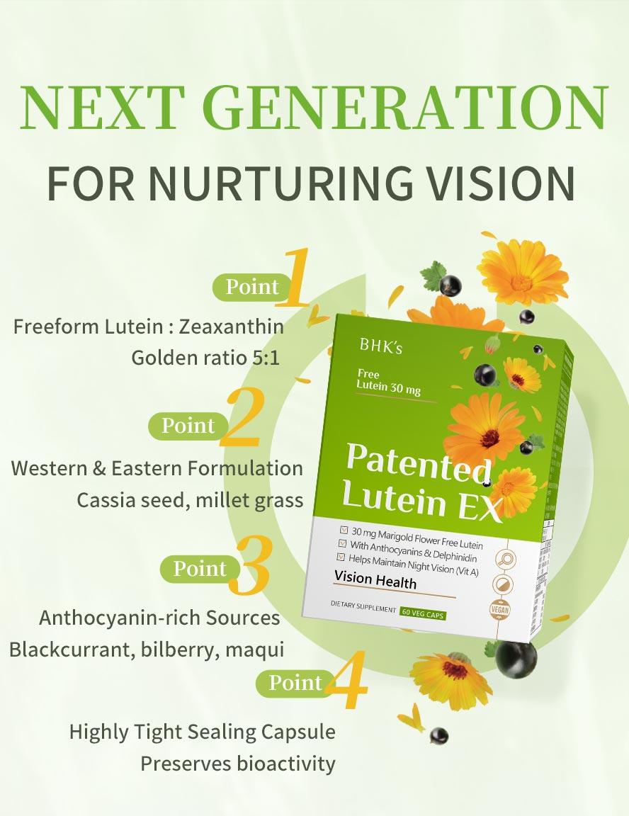 BHK Patented Lutein 30mg add Algae oil DHA to keep eyesight bright