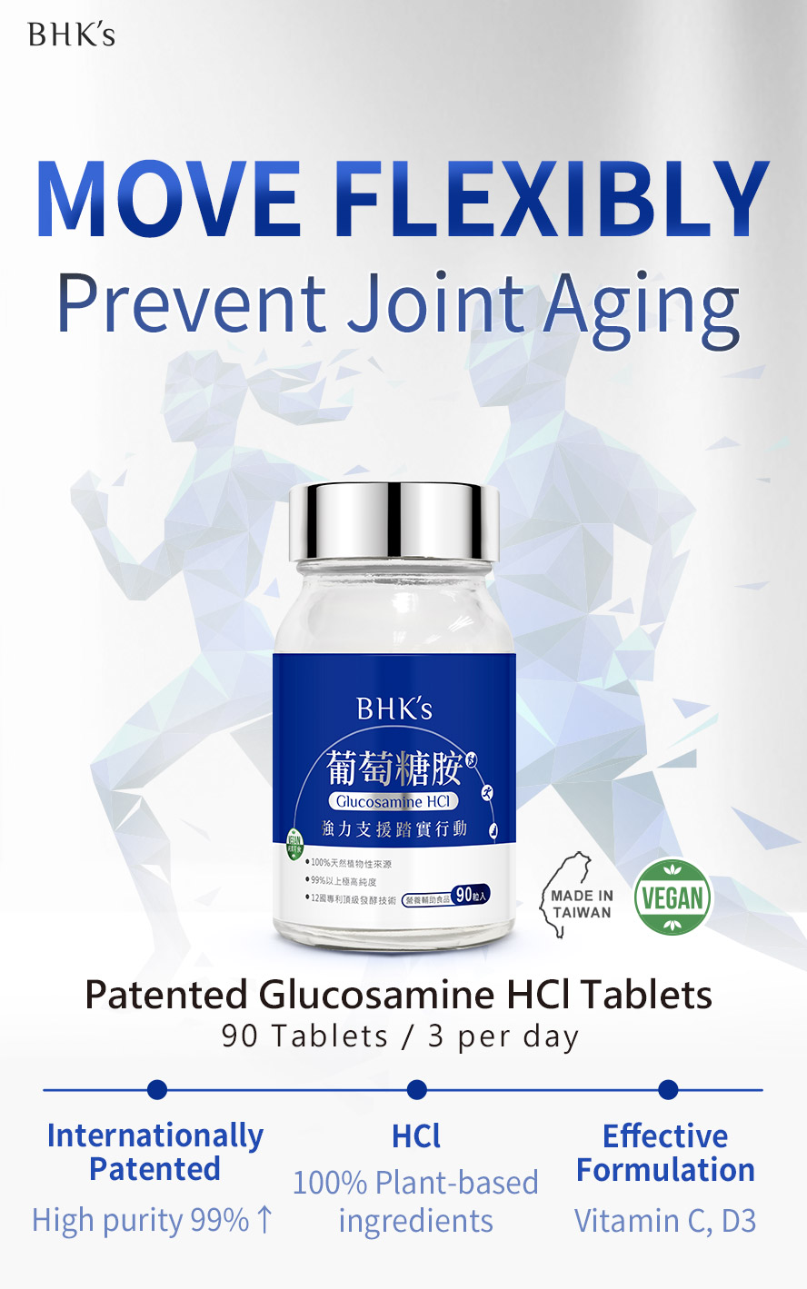 BHK's Glucosamine help provide pain relief and prevent further joint damage.