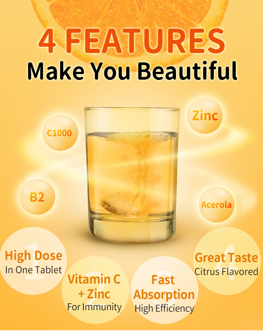 BHK's viaminC1000 effervescent tablets have four features