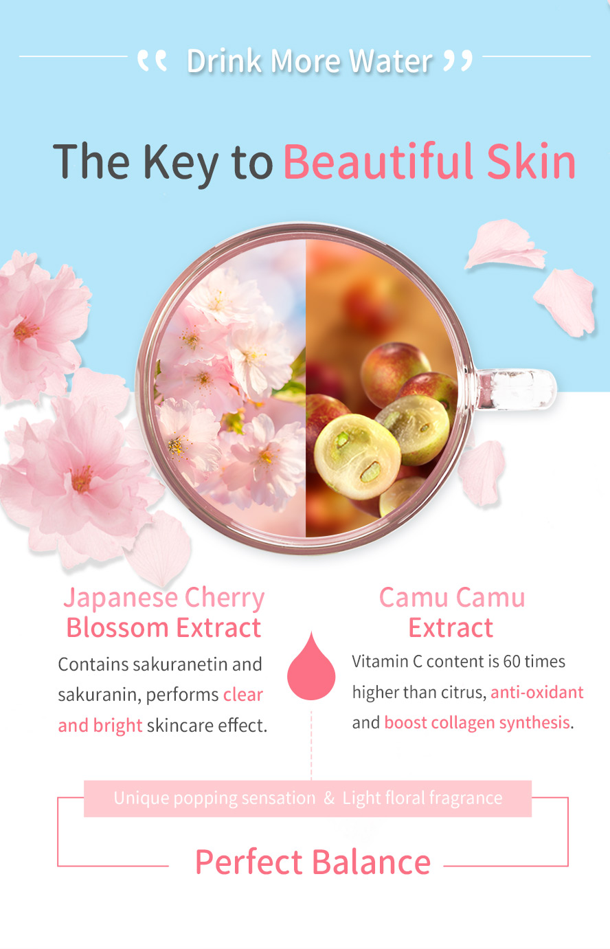 BHKs beauty drink contains sakura extract that promotes collagen formation, and camu camu berry extract that has richest source of Vitamin C.