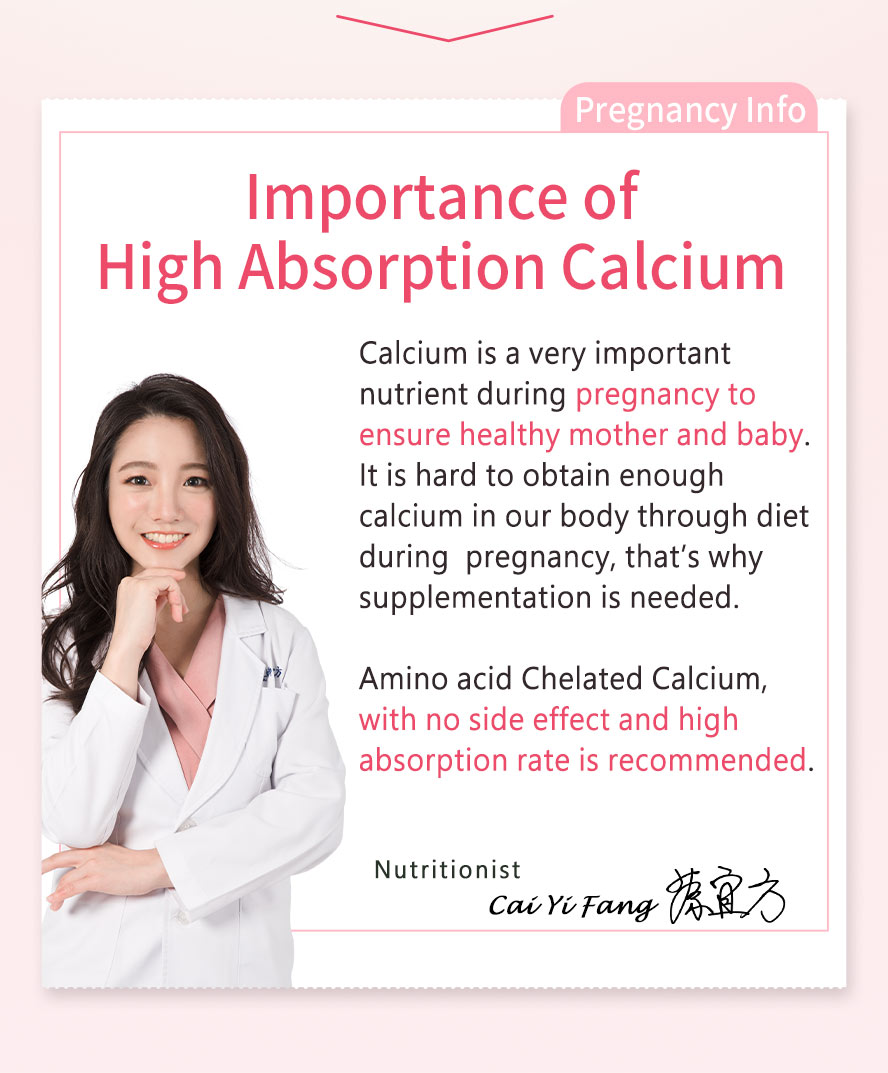 9 out of 10 pregnant women experienced calcium defficiency. Ministry of Health and Welfare recommends 1000mg supplementation per day needed by pregnant women