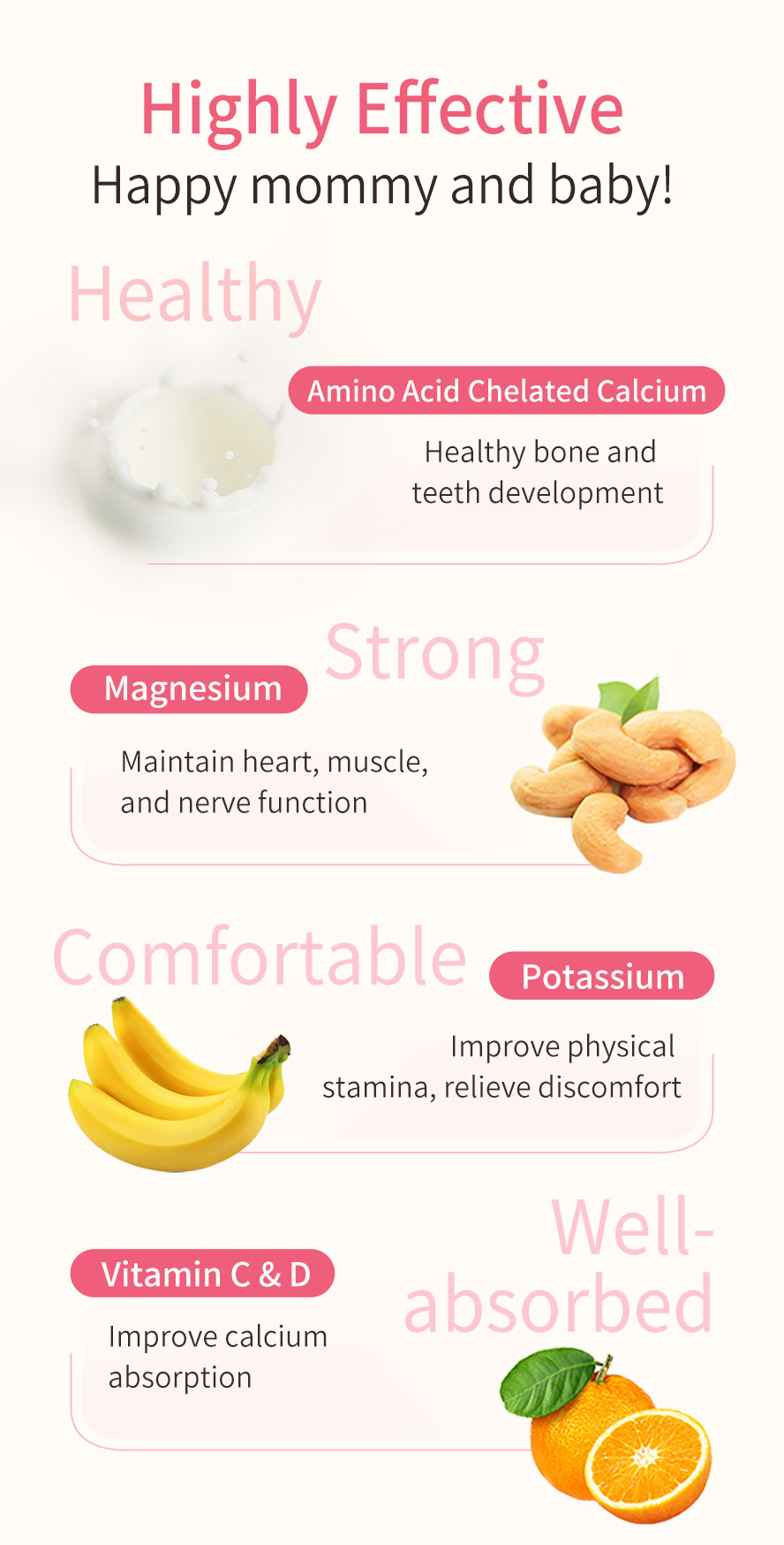 BHK Calcium Tablet for pregnant women with selected chelated amino acid, Vitamin D, and Vitamin C to enhance absorption rate for mommy's better sleep