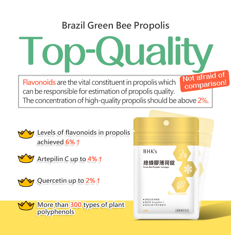 BHK's propolis lozenges uses Brazilian green bee propolis, a natural source of acclaimed active compound artepillin-c.