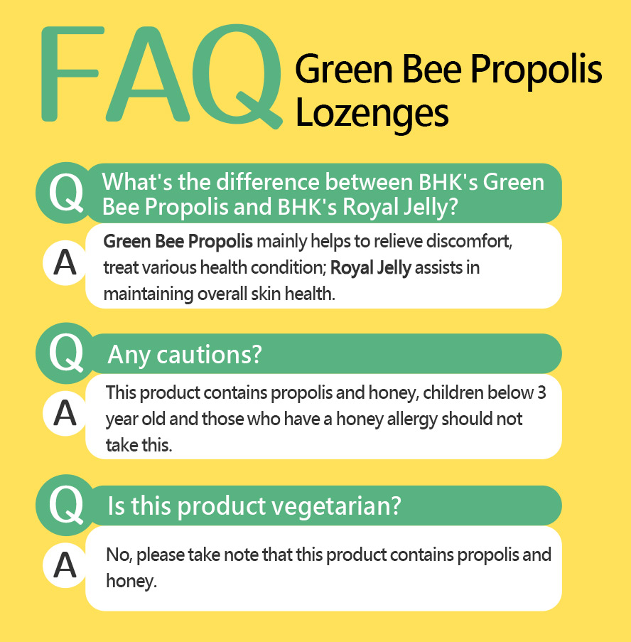 BHK's propolis lozenges is composed of honey and propolis.