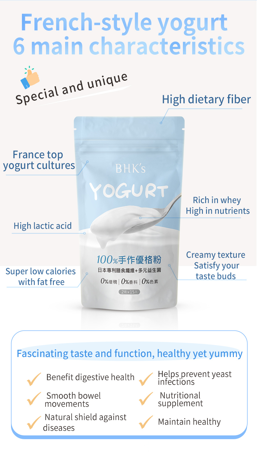 BHK's Yogurt uses French patented yogurt that can increases the amount of good bacteria in the GI tract.
