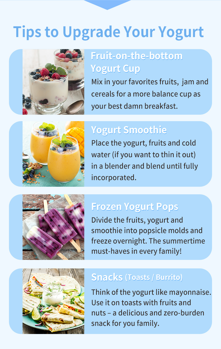 Try using your BHK's Yogurt homemade yogurt in our favorite recipes.