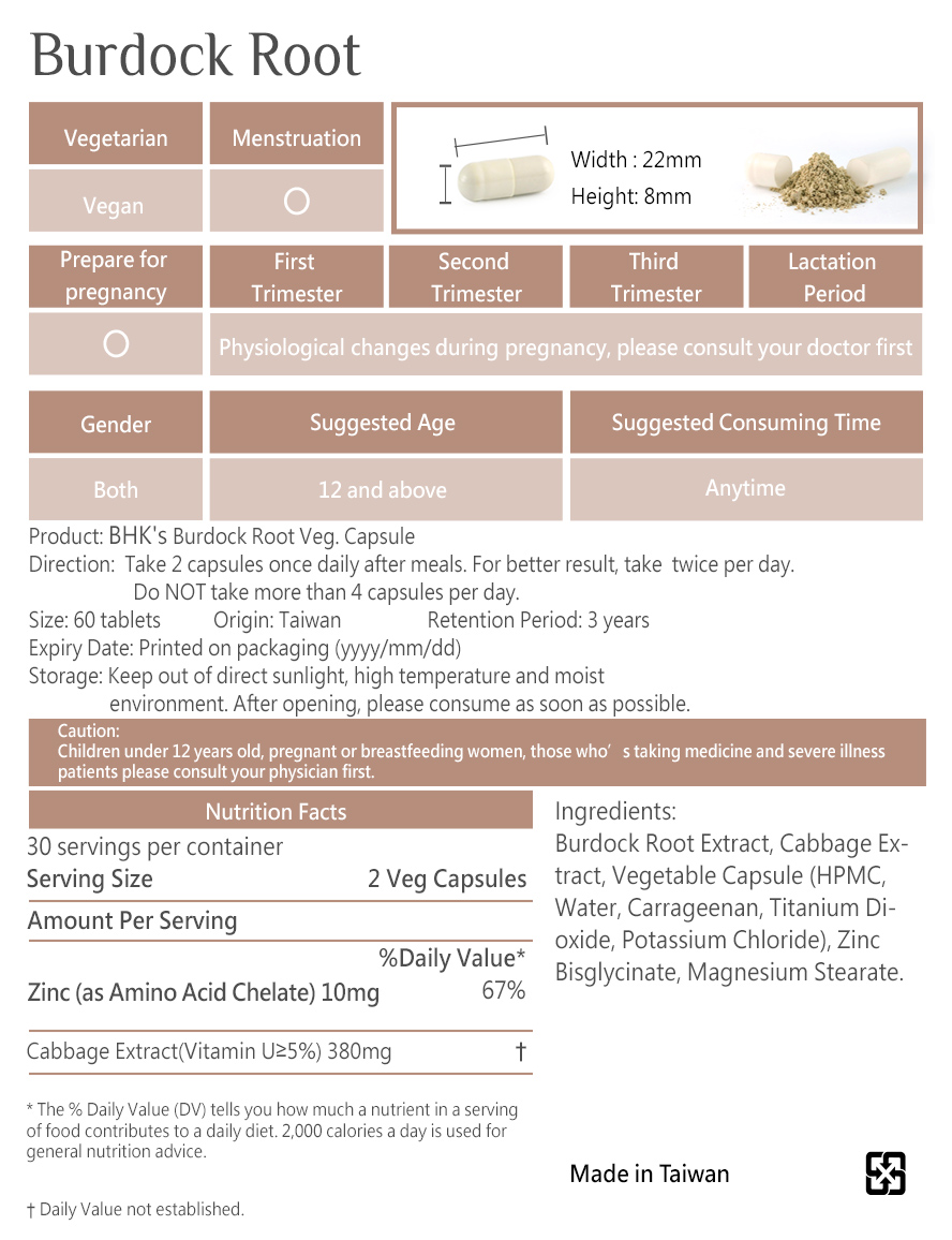 BHK's Burdock Root is safe, no side effects, and made of natural ingredients.