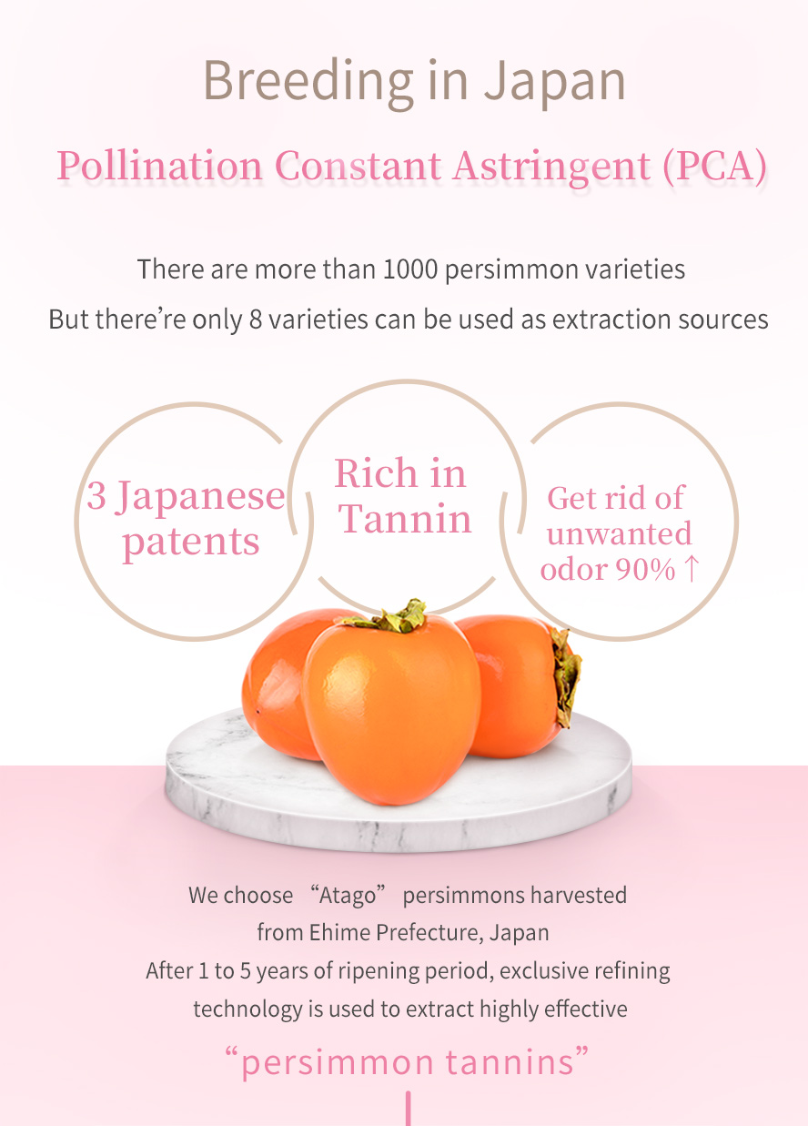 Persimmon tannins are proven to have a strong odor-eliminating effect on breath, body odor, and fecal odor.