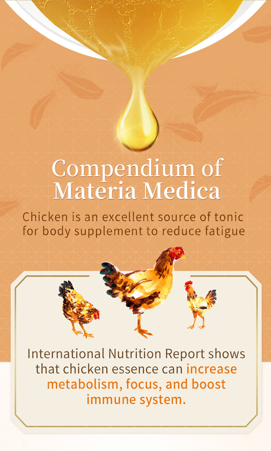 A study has shown that taking chicken essence daily can help combat mental fatigue and improve concentration.