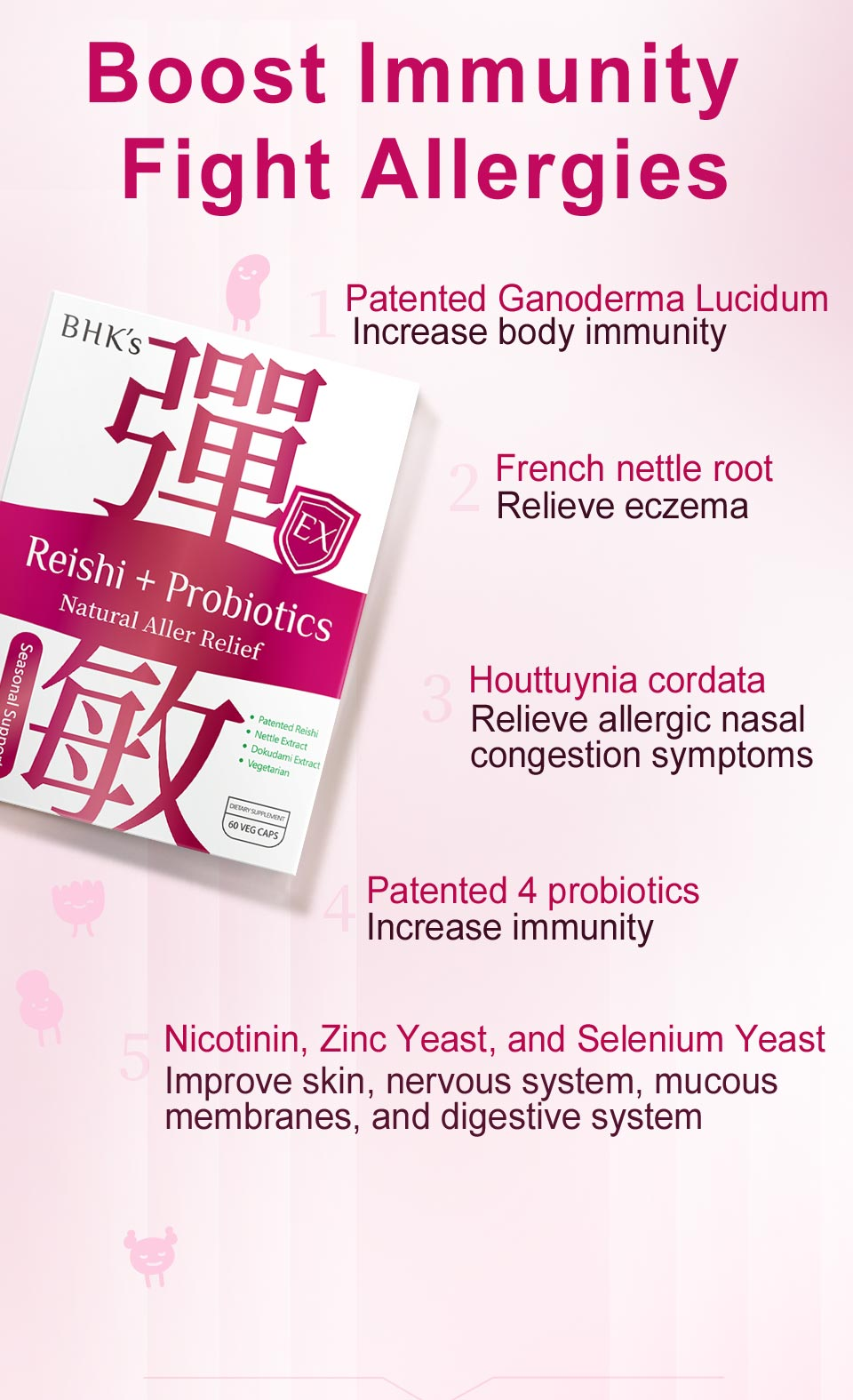 BHKs Reishi+Probiotics Capsules contains ganoderma lucidum that has more than 20% of polysaccharide, four types of probiotics, and nettle root extract.