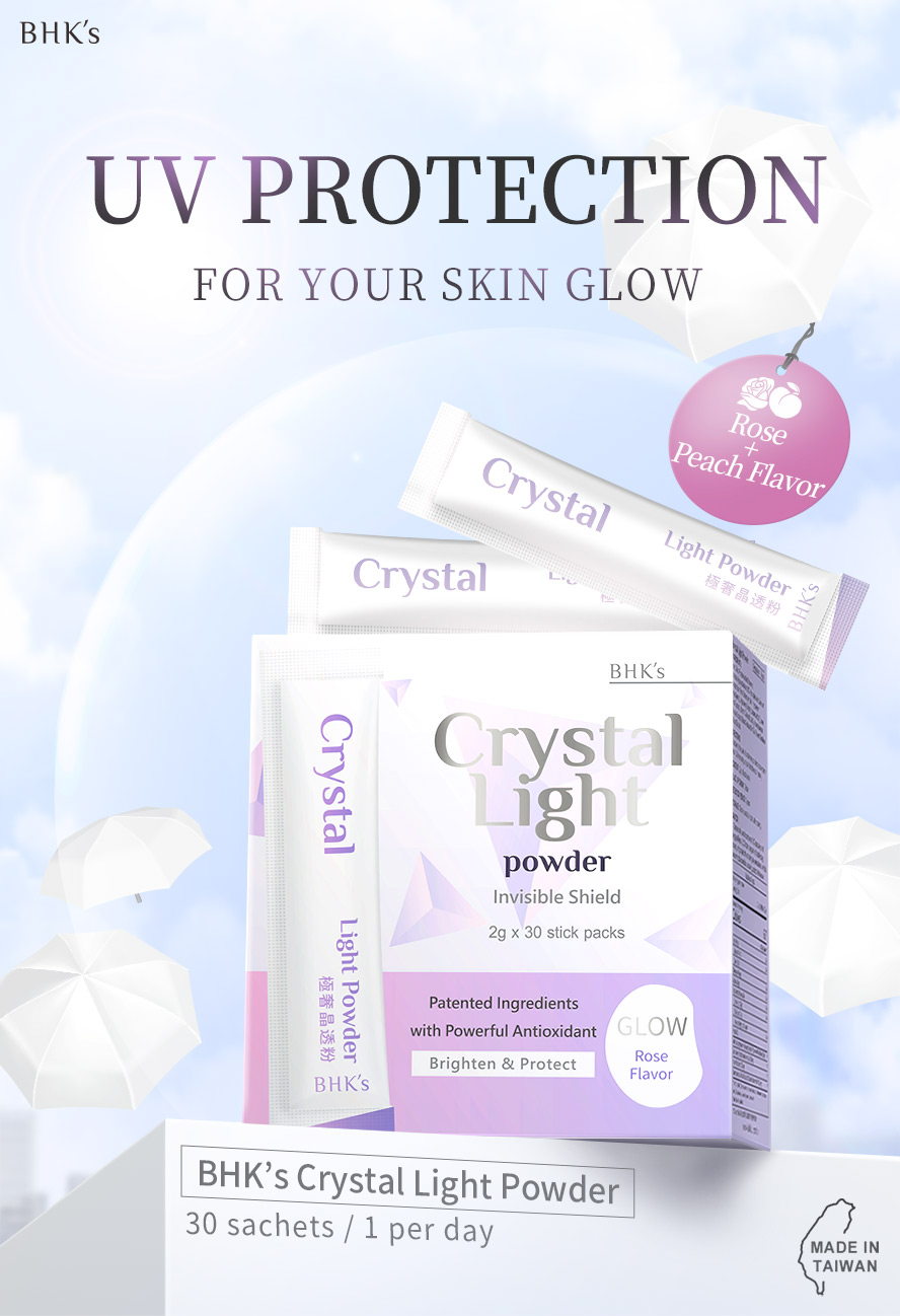 BHKs Crystal Light Powder protects skin from sun damage from the inside, prevent dark and uneven skin tone, with peach tasty flavor.