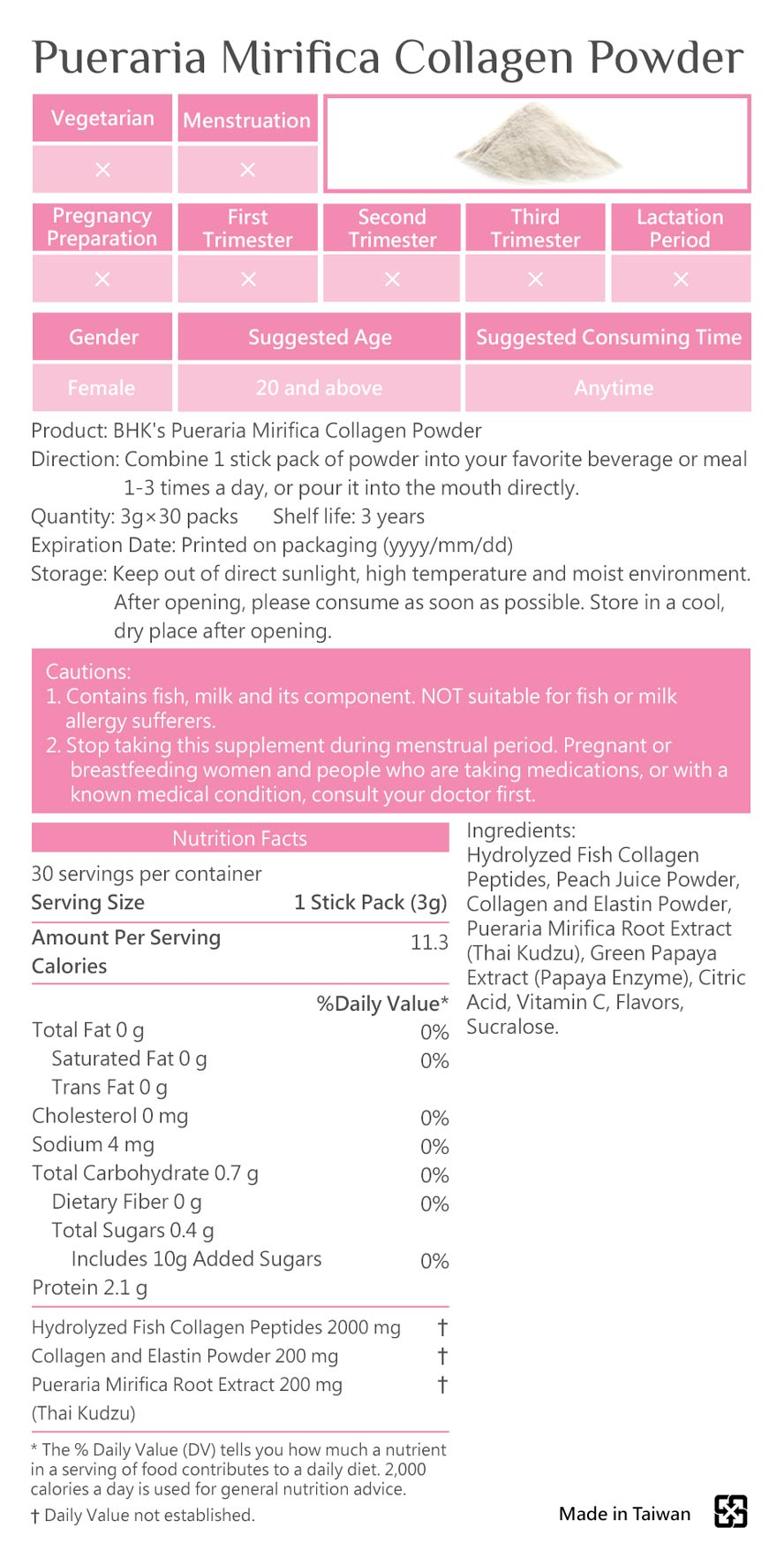 BHKs Pueraria Mirifica Collagen Powder is safe, no side effects, and made of natural ingredients.