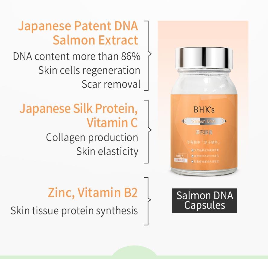 BHK's salmonDNA and Lemon Verbena can let acne scar disappear and help skin repair.