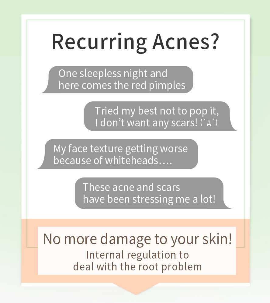 Staying up too late acne, hormonal acne, stress acne, scars from popping, large pores need internal adjustment to solve acne-prone skin.