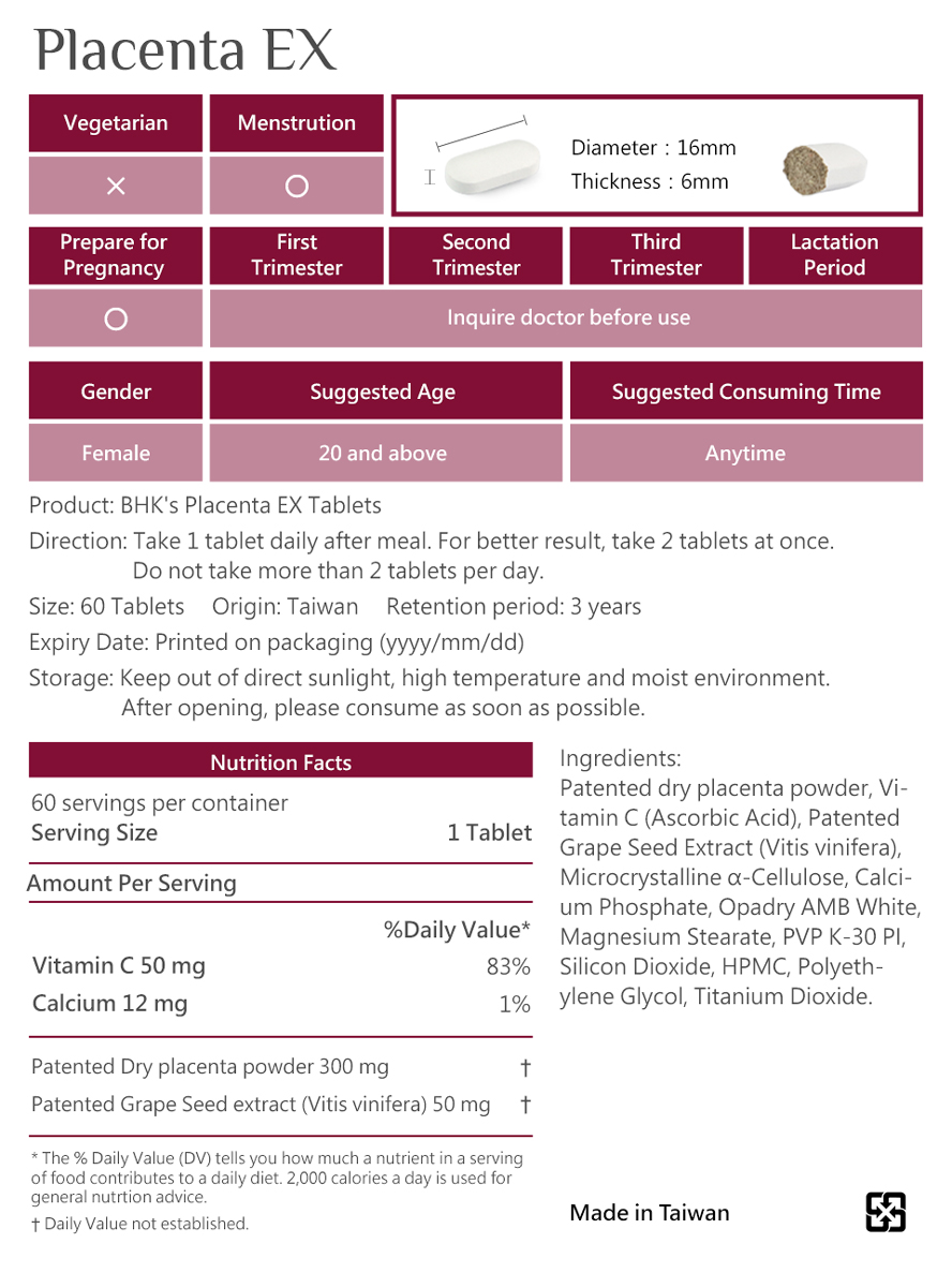 BHK's Q10 Placenta is safety inspection. No side effects, natural ingredients.