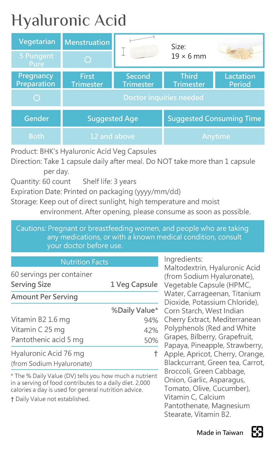 BHK's Hyaluronic-acid uses 95% high concentration patented hyaluronic-acid that is the best in market.