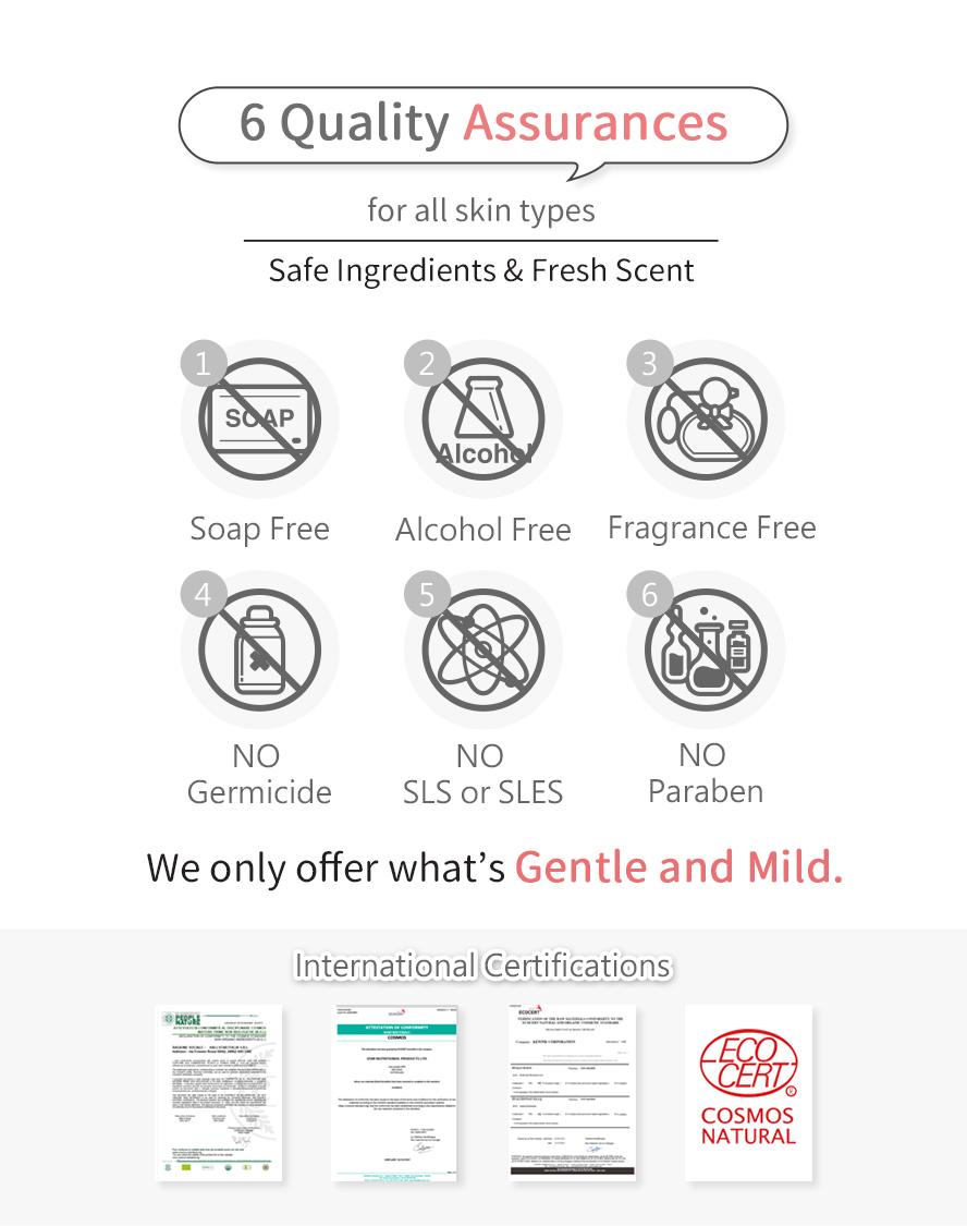 BHK's crimson feminine care cleansing mousse has six safety promises: no soap base, alcohol-free, no artificial flavor, no germicide, no SLS, SLES, and no Paraben.