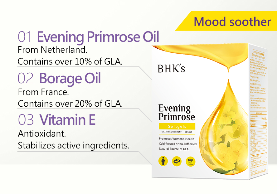 BHK's VitexEveningPrimrose promote high levels of the fatty acid called Gamma-Linolenic Acid (GLA), which helps treating  hormonal imbalances