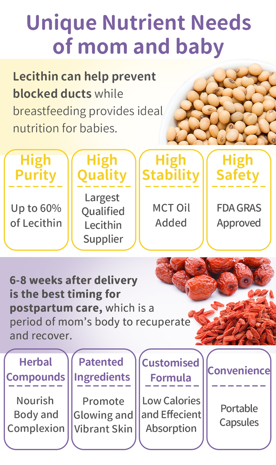 BHK's LecithinConfinement help prevent of mastitis, breastfeeding with sufficient nutrition, regain women's health quickly.