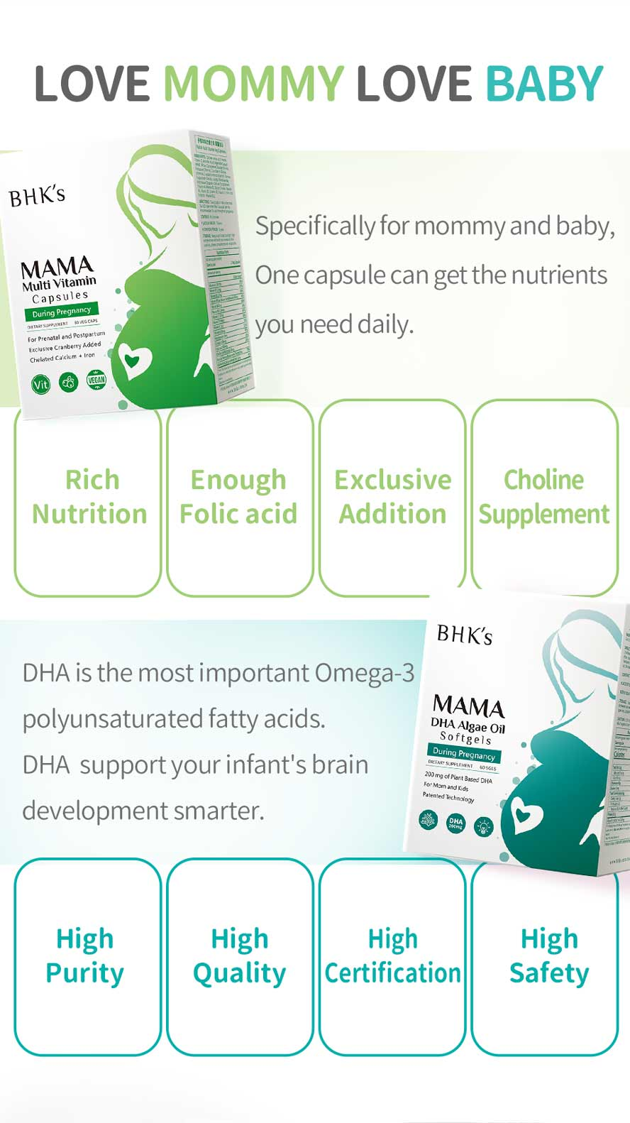 BHK's DHA Algae Multi-vitamin marine microalgae without any contaminants and pollution-free.