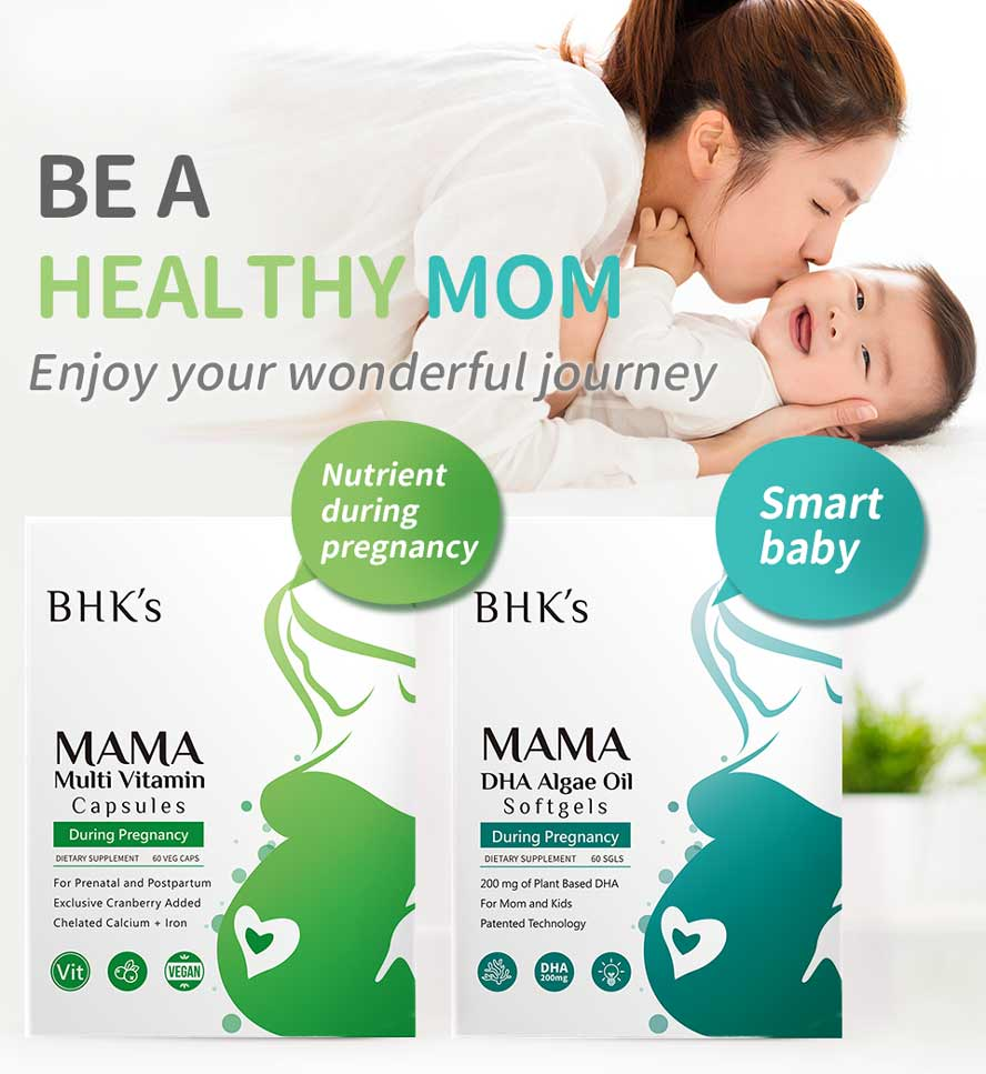 BHK's DHA Algae Multi-vitamin for those who have morning sickness, mood swings, fatigue, and other pregnancy symptom.
