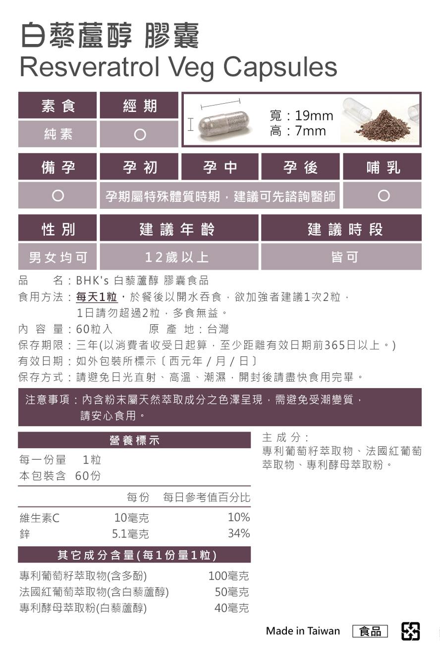 BHK's白藜芦醇通过安全检验不含重金属,安全无虑,无副作用。