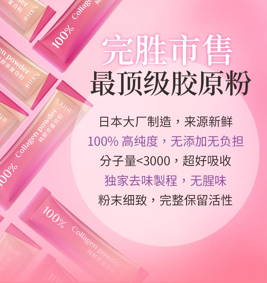 BHKs 胶原蛋白粉为市售最顶级的胶原粉,独家水解技术,分子量<3000,好吸收无腥味.