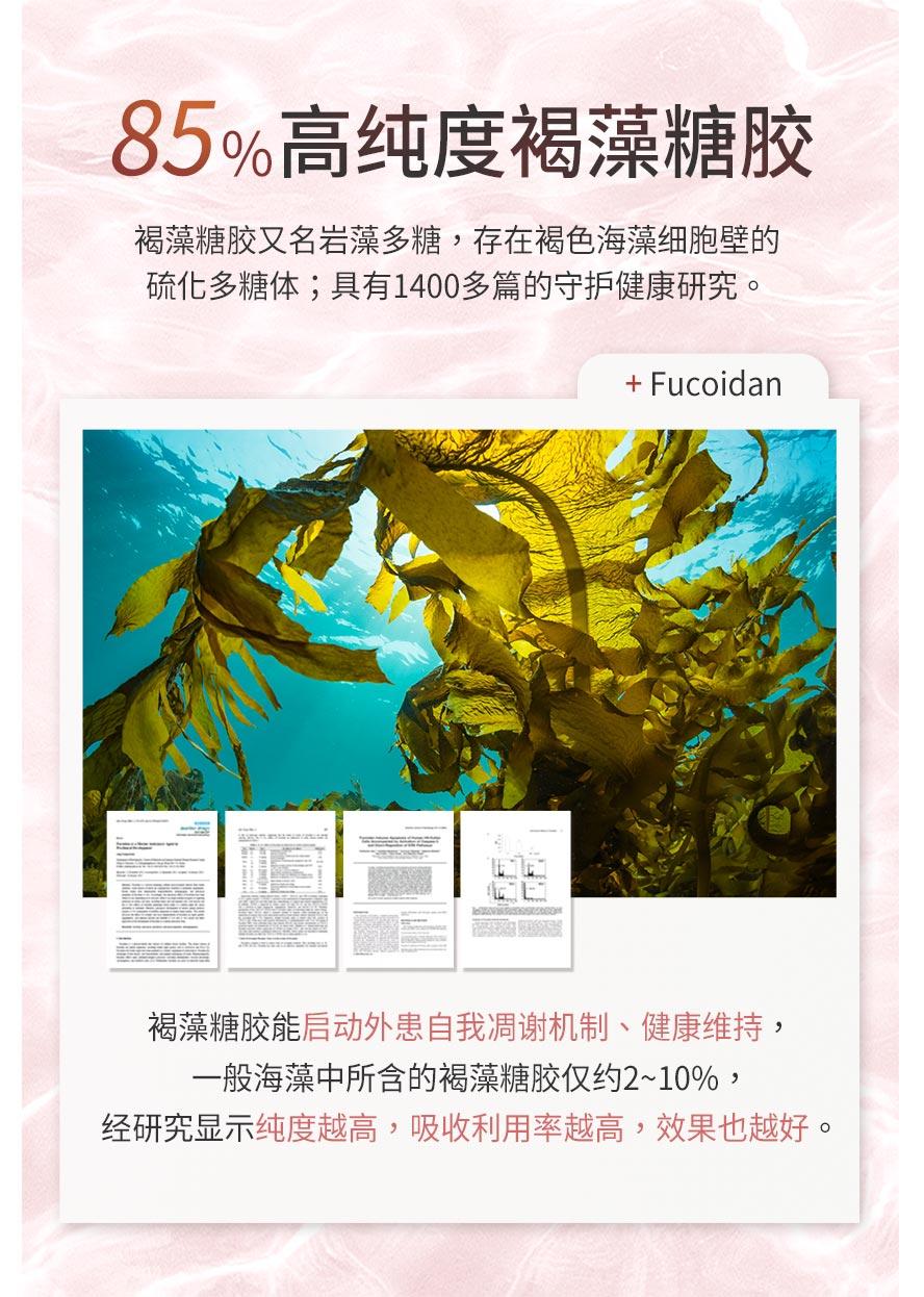 BHK's褐藻糖胶高纯度萃取技术,褐藻糖胶达85%以上。