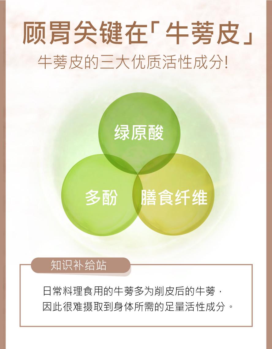 BHK's牛蒡含三大活性成分,绿原酸,多酚,膳食纤维,能维持消化道健康.