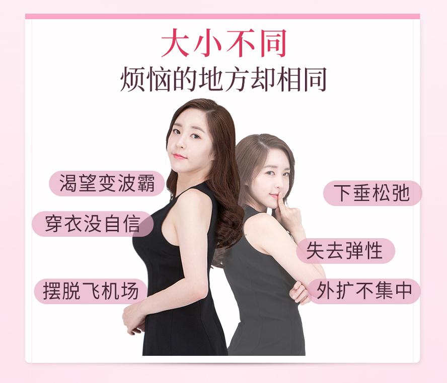 专为小胸部、胸型外扩下垂、缺乏弹性、上胸没肉、想要胸部变大的女性量身调配。