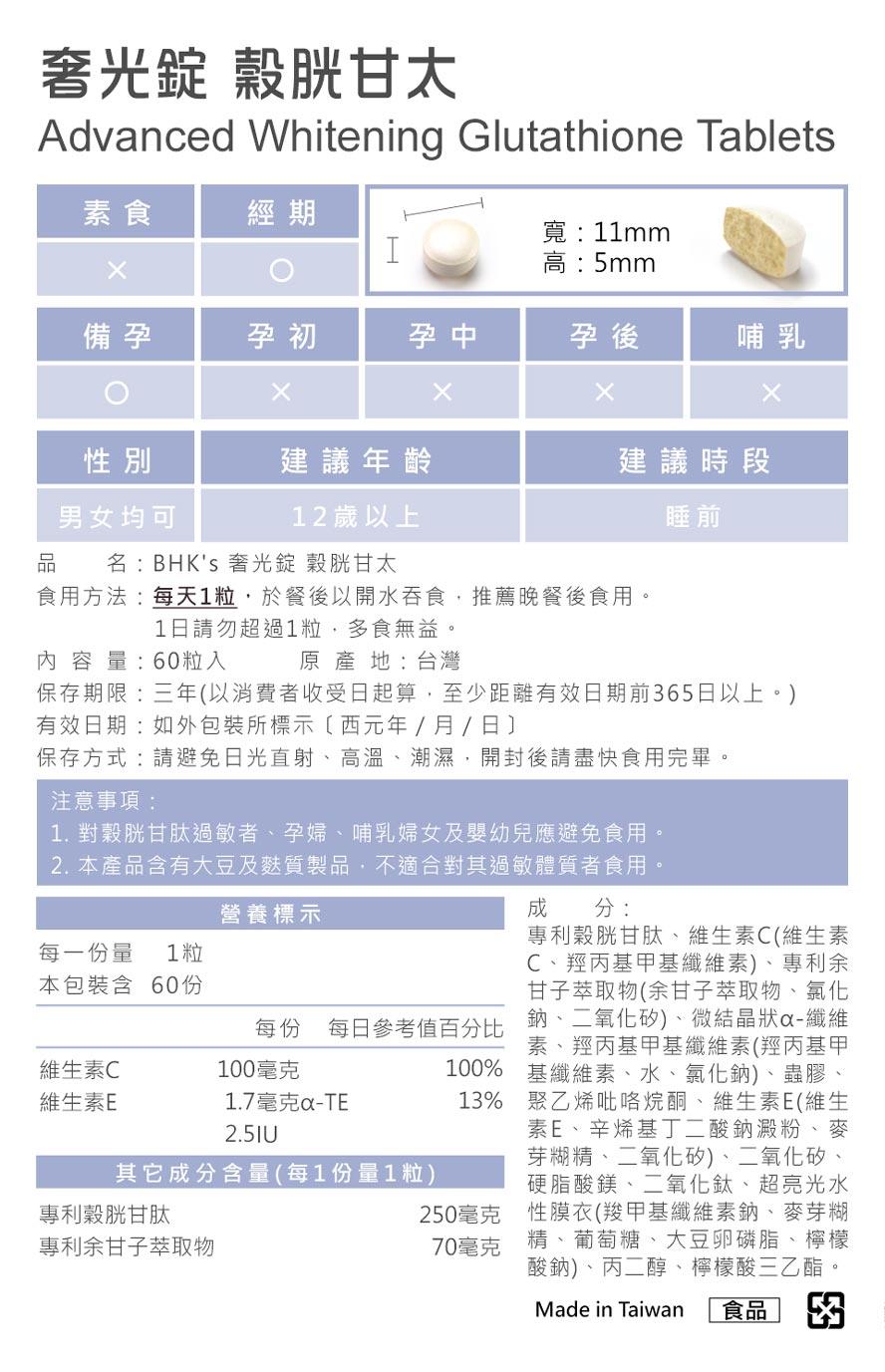 BHK's奢光錠採用日本專利穀胱甘肽,250mg足量,深釋腸溶技術強化吸收