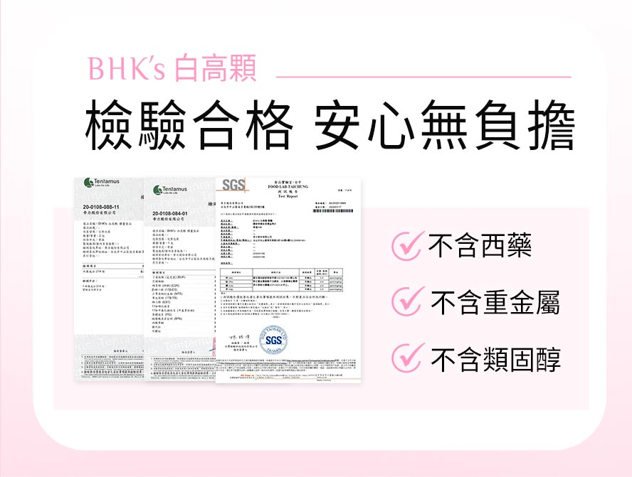 BHK's白高顆通過安全檢驗合格,不含西藥、類固醇、重金屬,請消費者安心食用。