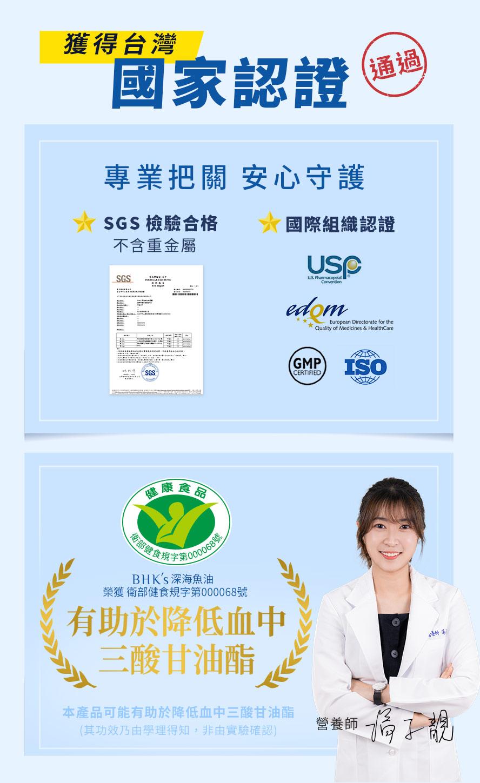 BHK's魚油軟膠囊的EPA:DHA為黃金比例30:20,是專業營養師和藥師都推薦的好魚油.