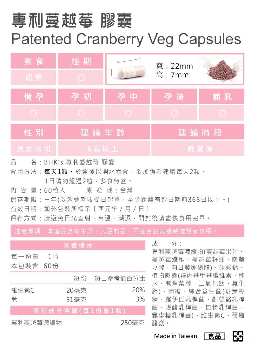 BHK蔓越莓膠囊通過安全檢驗,安全無慮,無副作用