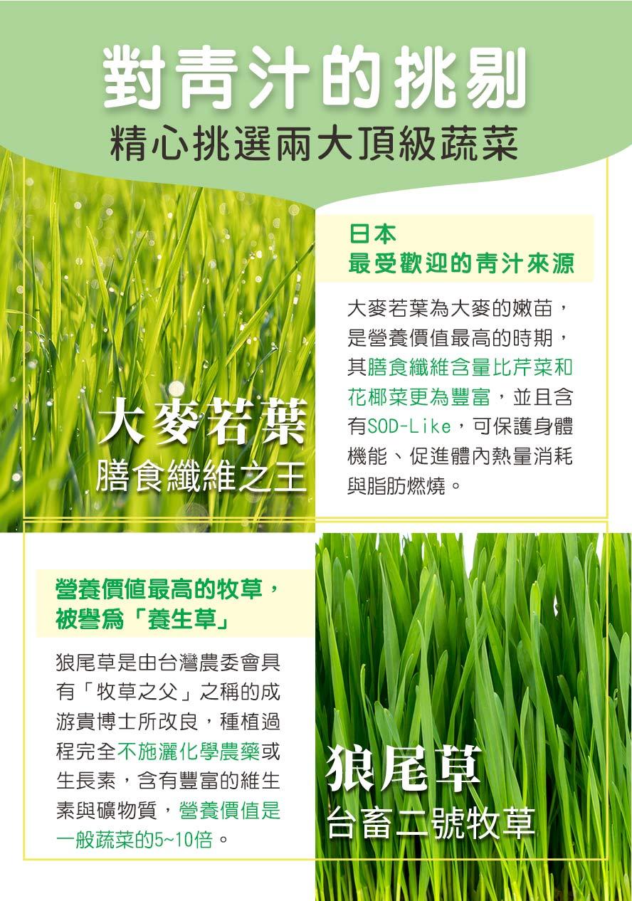 BHKs青汁酵素錠採用頂級兩大蔬菜,日本大麥若葉,營養價值最高的狼尾草.