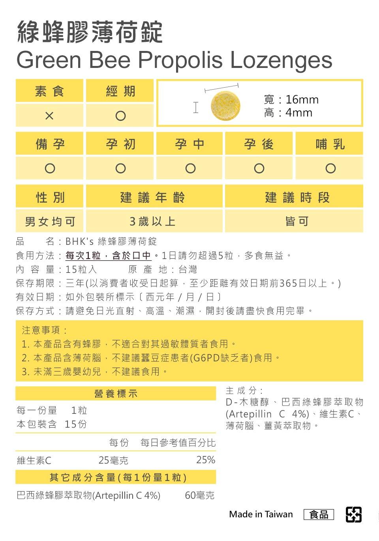 BHK's綠蜂膠薄荷通過安全檢驗,安全無慮,無副作用.
