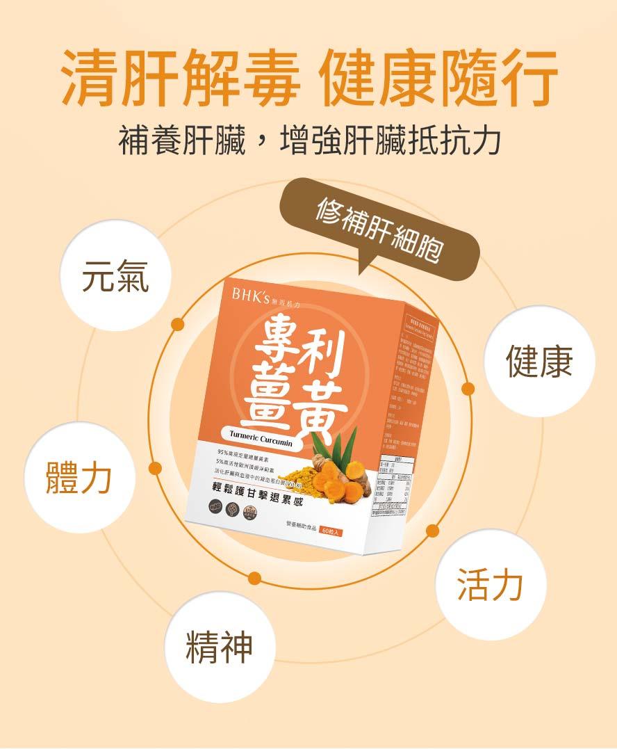 BHK專利薑黃95%高規定量,活化肝臟功能,補足身體元氣,幫助肝臟健康.