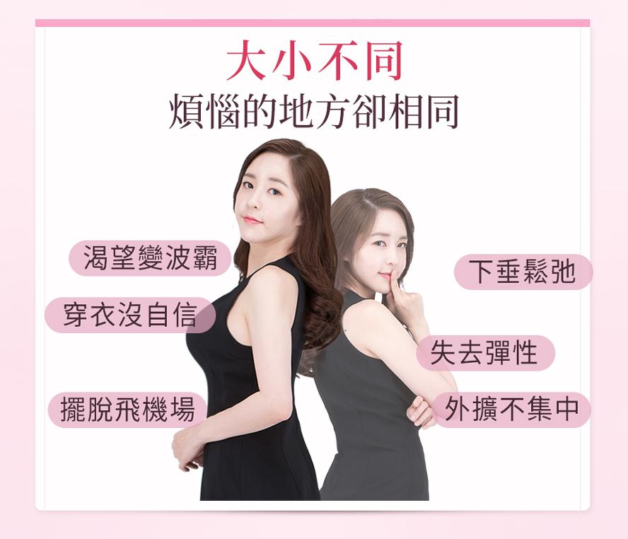 專為小胸部、胸型外擴下垂、缺乏彈性、上胸沒肉、想要胸部變大的女性量身調配。